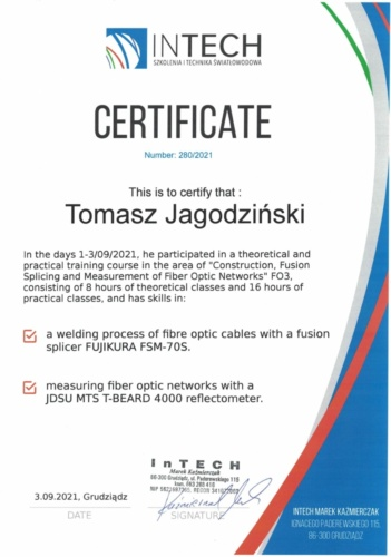 IN TECH certyfikat EN