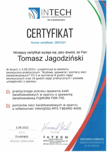 IN TECH certyfikat