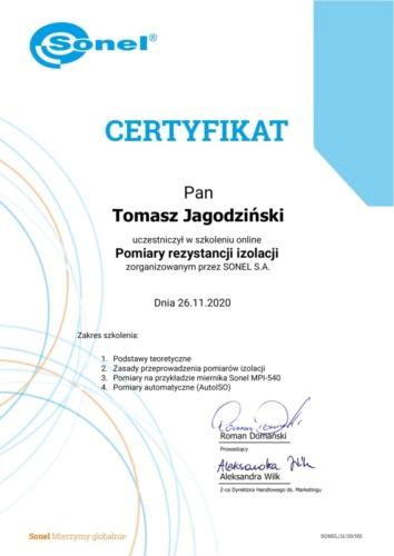 Certyfikat Tomasz Jagodziński